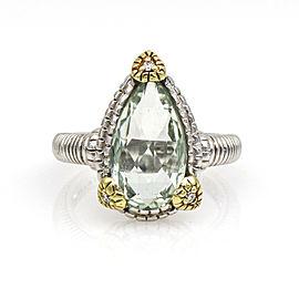 Judith Ripka Pear Green Quartz Diamond Ring 18k Yellow Gold Sterling Silver