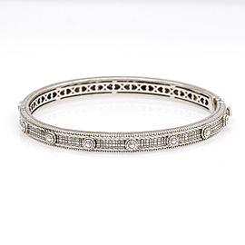 Judith Ripka Hinged Bangle Bracelet with 3 Diamonds in 18k Gold Sterling Silver