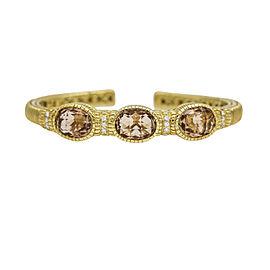 Judith Ripka 18k Yellow Gold Citrine Diamond Hinged Bangle Bracelet