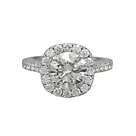 2.05 ct EGL Certified Brilliant Round Diamond Halo Engagement Ring 18k Gold