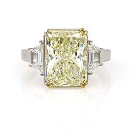 5.82 ct GIA Certified Rectangular Yellow Diamond Engagement Ring 18k Gold