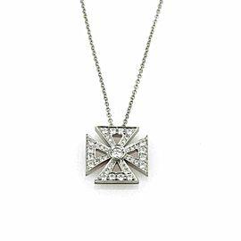 Tiffany & Co. Maltese Diamond Platinum Cross Pendant Necklace