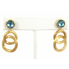 Marco Bicego Jaipur Blue Topaz 18k Yellow Gold Double Hoop Dangle Earrings
