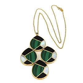 Ippolita Malachite MOP Onyx 18k Yellow Gold 4 Mosaic Large Pendant Necklace