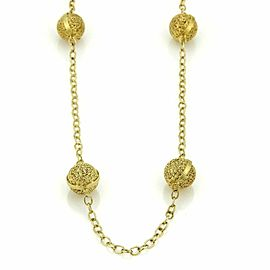Vintage 8 Filigree Ball Station Long 14k Yellow Gold Chain Necklace