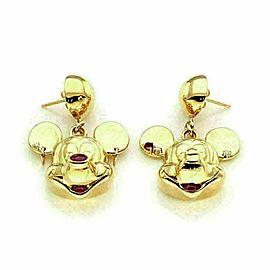 Mickey & Minnie Mouse Diamond Rubies 18k Yellow Gold Drop Dangle Earrings