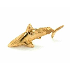 3D Shark 14k Yellow Gold Charm Pendant