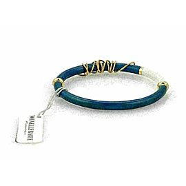 Nouvelle Bague Diamond Blue Enamel 18k Gold & Sterling Bangle Bracelet