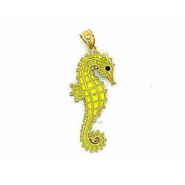 Double Side Yellow Enamel Sea Horse 14k Yellow Gold Pendant