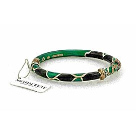 Nouvelle Bague Diamond Green Black Enamel 18k Gold/Sterling Bracelet NWT