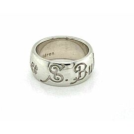 Bvlgari Save The Children Sterling Silver 8mm Wide DomeBand Ring Size 49