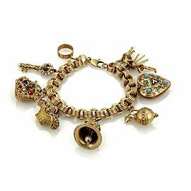 Estate 14k Yellow Gold Multicolor Gems 9 Charms w/Charm Bracelet