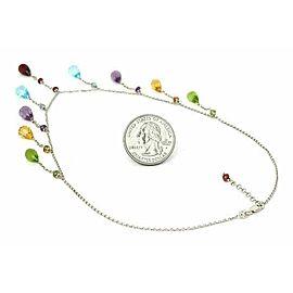 Multi-Color Dangling Briolette Gemstone 14k White Gold Necklace