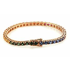 Classic 8.96ct Multi-Color Sapphires 18k Rose Gold Tennis Bracelet
