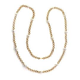 Mikimoto Akoya Pearls 18k Yellow Gold Diamond Cut Link Long Necklace