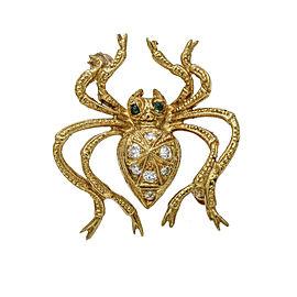 Diamond Emerald Spider Pin Brooch in 18k Yellow Gold