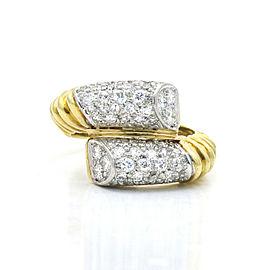 Diamond Platinum 18k Yellow Gold Bypass Band Ring ( 0.80 cttw )