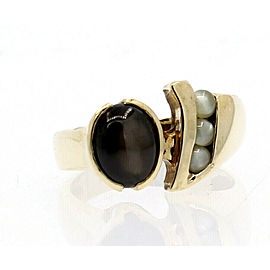 14k Yellow Gold Black Star Sapphire Cabochon Men's Ring Size 10