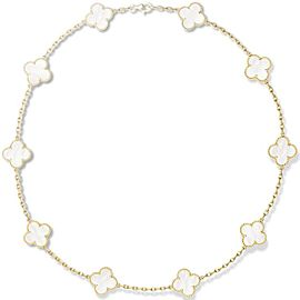 Van Cleef & Arpels Alhambra 18K Yellow Gold & Mother Of Pearl Necklace