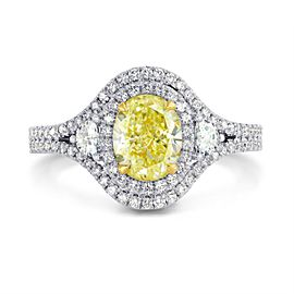 Leibish 18K White and Yellow Gold with 1.78ctw Diamond Ring Size 5.75