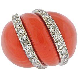 David Webb Coral Diamond Gold Platinum Ring