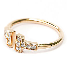 TIFFANY & CO. 18K Pink Gold T Wire Diamond Band Ring