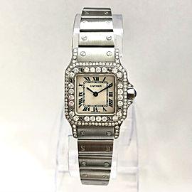 CARTIER SANTOS GALBEE 24mm Quartz Steel Watch Diamond Bezel & Case 1.21TCW