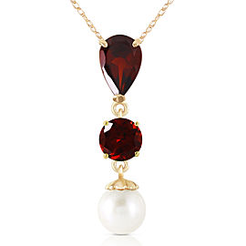 5.25 CTW 14K Solid Gold Necklace Garnet Cultured Pearl