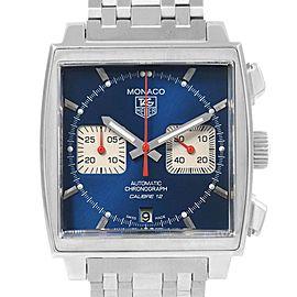 Tag Heuer Monaco Calibre 12 Blue Dial Steel Mens Watch CAW2111