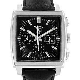 Tag Heuer Monaco Automatic Black Strap Mens Watch CW2111