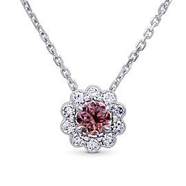 Leibish 18K White Gold with 0.45ctw Diamond Halo Pendant Necklace
