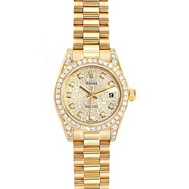 Rolex President Crown Collection Yellow Gold Diamond Ladies Watch 179298