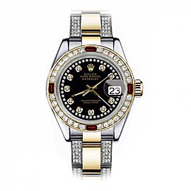 Rolex Black String 36mm Datejust Two Tone Side Diamonds + Rubies