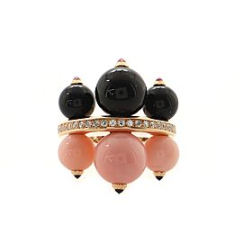Cartier Evasions Joaillieres Ring 18K Rose Gold with Pink Opal, Onyx and Diamonds Large