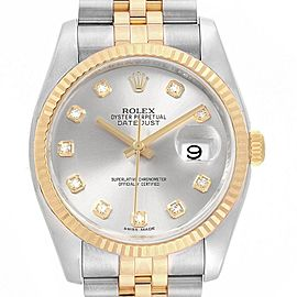 Rolex Datejust Steel Yellow Gold Silver Diamond Dial Mens Watch 116233