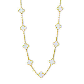 Van Cleef & Arpels 18K Yellow Gold and Mother-of-Pearl Vintage Alhambra Necklace