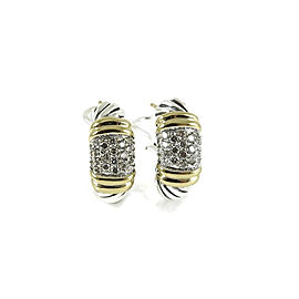 David Yurman Sterling Silver 18K Yellow Gold .50tcw Pave Diamond Metro Earrings