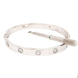 Cartier 18K White Gold 4 Diamond Love Bracelet - Size 17