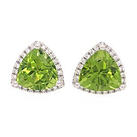 18k White Gold Peridot and Diamond Studs Earrings