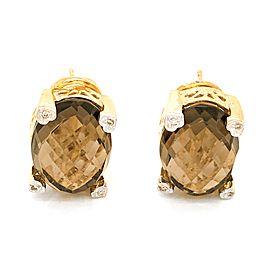 14k Yellow Gold Diamond and Smoky Topaz Earrings