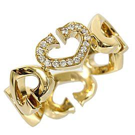 Cartier 18K Yellow Gold C Heart Diamond Ring Size 5.0