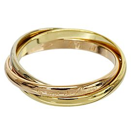 Cartier 18K Yellow White And Pink Gold Trinity Ring Size 4.75