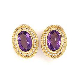 Estate 14K Yellow Gold Amethyst and Diamond Earrings