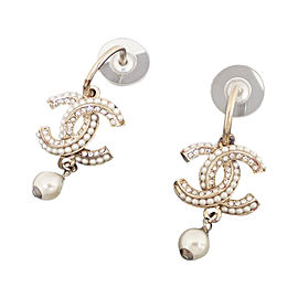 Chanel Metal And Simulated Glass Pearl Earrings