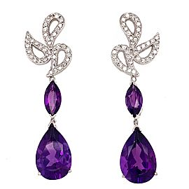 18k White Gold Amethyst and Diamond Hanging Earrings