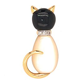 Cat Lover and Proud of it. 14K Mother of Pearl and Onyx Diamond Collar Cat Pin