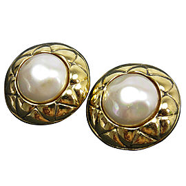 Chanel Gold Tone Simulated Glass Pearl Earrings