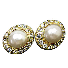 Chanel Gold Tone Simulated Glass Pearl Rhinestone Earrings