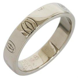 Cartier 18K White Gold Happy Birthday Wedding Band Ring Size 4.75