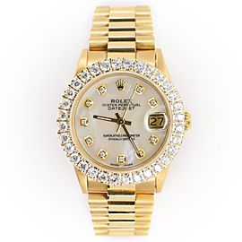 Rolex President Datejust Yellow Gold 31mm Watch w/ White MOP Diamond Dial
